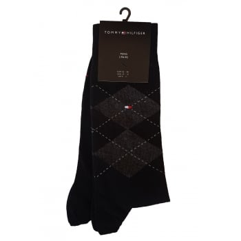 Tommy Hilfiger Socks 2 Pack Formal Black & Argyle