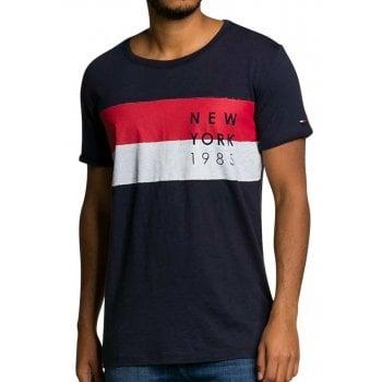 Tommy Hilfiger Denim T-Shirt Flag PKT Dark Indigo Blue