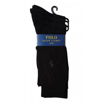 Ralph Lauren Polo Ralph Lauren Socks 3 Pack Plain Black Formal Mens One Size