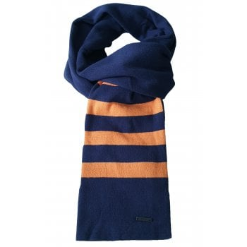 Hugo Boss Mens Scarf Facino Dark Blue & Orange Stripe