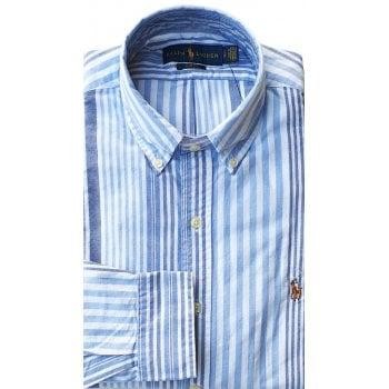 Ralph Lauren Polo Shirt Mens Multi Stripe Blue White