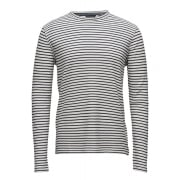 Jack & Jones Premium Wind Sailor Stripe Waffle Sweat Top W/White
