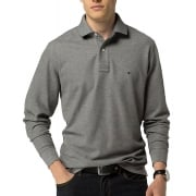 Tommy Hilfiger Long Sleeve Polo Top Silver Fog Grey