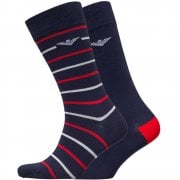 Emporio Armani 2 Pack Crew Socks Navy With Red White